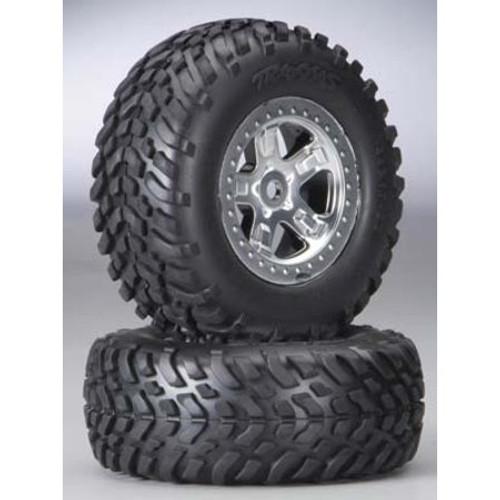 Traxxas Slayer Pre-Mounted Tires & Wheels w/Satin Chrome Beadlock (Black) (2) (TRA5973)