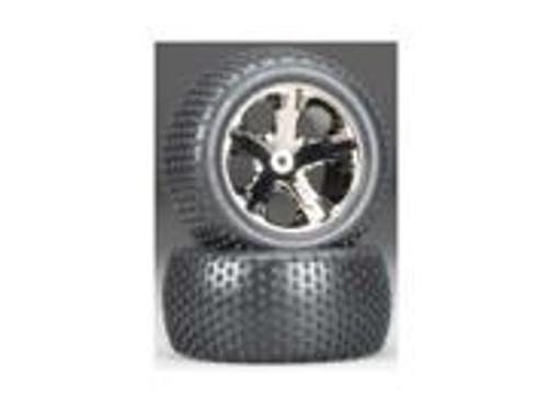 Traxxas Alias Rear Tires w/All-Star Wheels (2) (Black Chrome) (Standard) (TRA3770A)