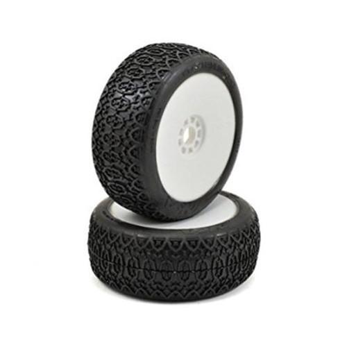 AKA Chain Link 1/8 Buggy Pre-Mounted Tires (2) (White) (Soft - Long Wear) (AKA14017XRW)