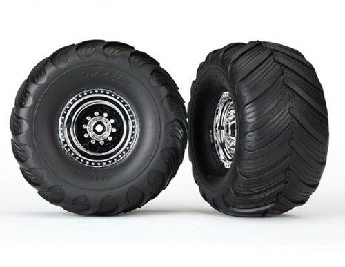 "Traxxas 12mm Hex ""Bigfoot"" Pre-Mounted Tires & Wheels (2) (Rear) (Chrome) (TRA3663X)"