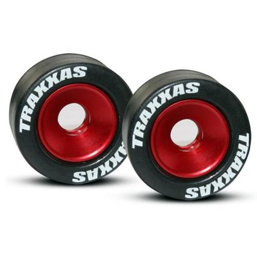 Traxxas Machined Aluminum Wheels w/ Rubber Tires (Wheelie Bar) (2) (Red) (TRA5186)