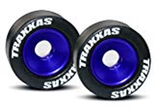 Traxxas Aluminum Wheelie Bar Wheel Set w/Rubber Tires (Blue) (2) (TRA5186A)