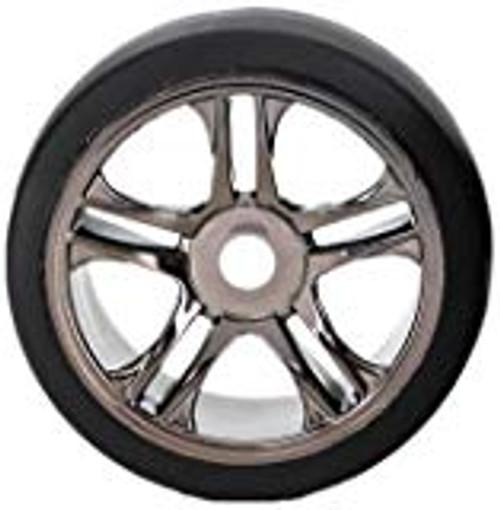 Traxxas Front Tire & Wheel Set (2) (Black Chrome) (S1) (TRA6479)