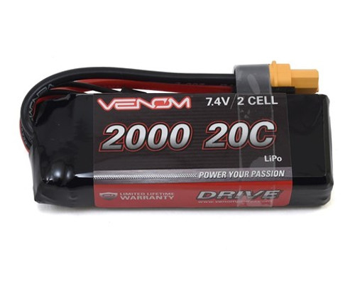Venom Power 2S LiPo 20C Mini Battery Pack w/Universal Plug (7.4V/2000mAh) (VNR15023)