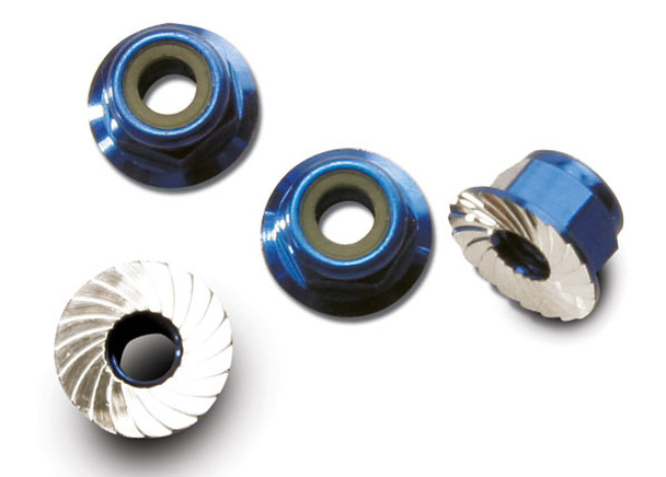 Traxxas 4mm Aluminum Flanged Serrated Nuts (Blue) (4) (TRA1747R)