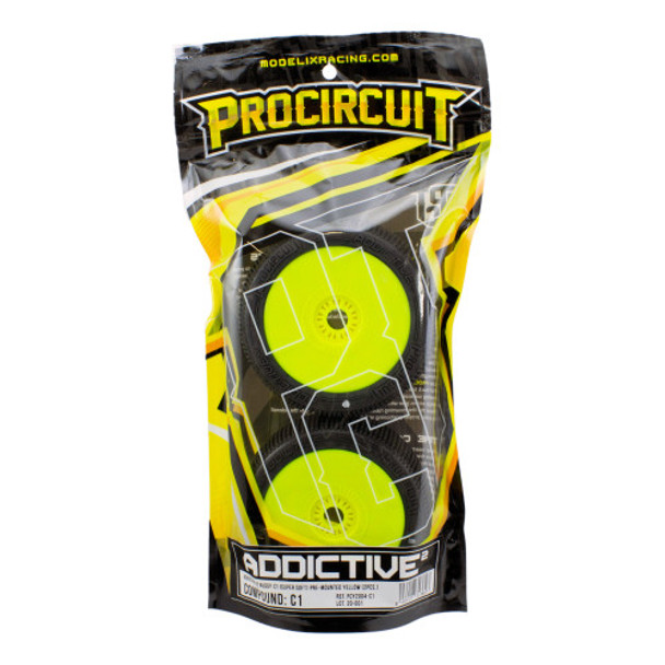 2 Pro Circuit Addictive Buggy Tires Super Soft- Pre-Mounted Yellow P1
