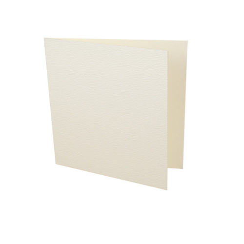 Small square ivory accent textured card blank