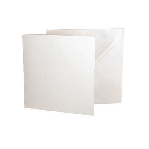 Large Square Card Blanks with Envelopes, Ivory White Pearl 230gsm