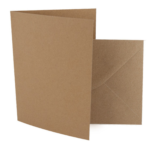 A6 Card Blanks with Envelopes, Recycled Brown Kraft