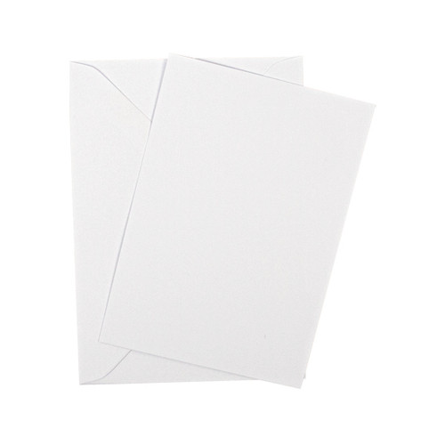 A5 White silk flat sheet invitations with envelopes