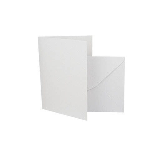 A7 Card Blanks with Envelopes, White Silk 350gsm