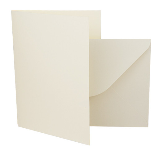 A5 Ivory silk card blanks with envelopes