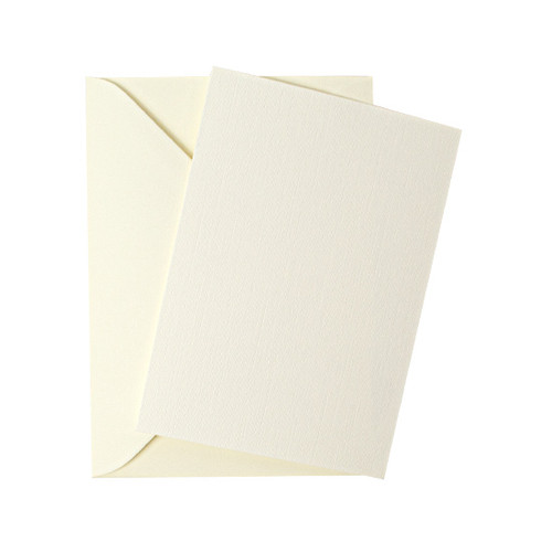 A6 Ivory linen flat sheet invitations with envelopes