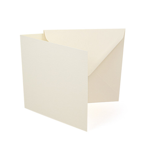 Large square ivory linen card blanks with envelopes