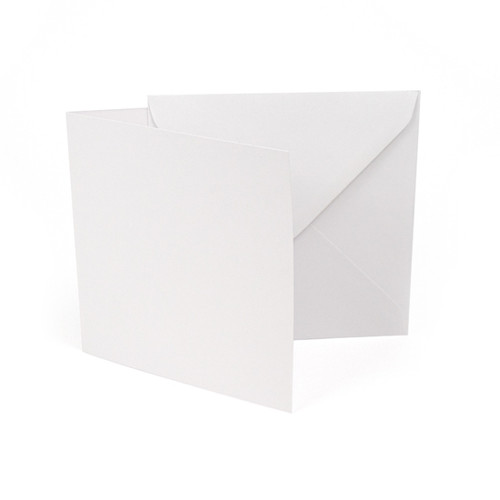 Small square white silk card blanks with envelopes