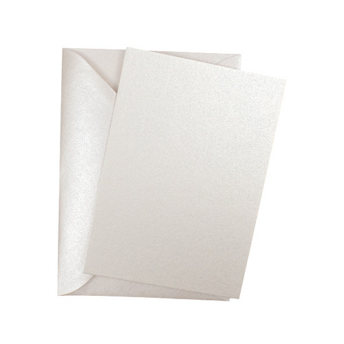 Ivory white pearl flat sheet invitations with envelopes