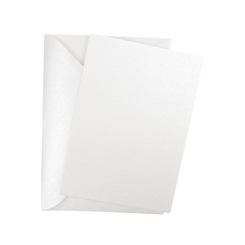 A6 Postcard Blanks with Envelopes, Ice White Pearl 230gsm