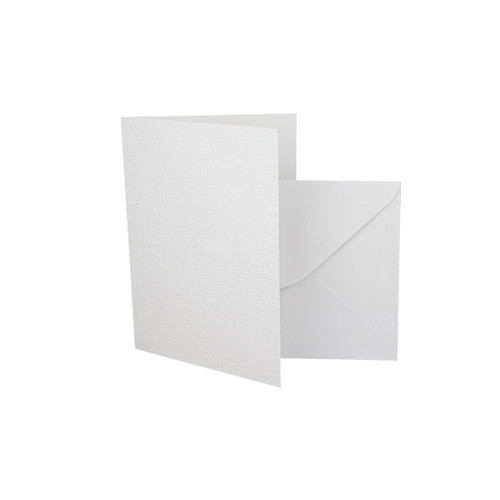 A7 White linen card blanks with envelopes