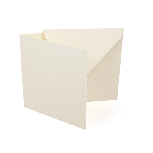 Small Square Card Blanks with Envelopes, Ivory Hammer