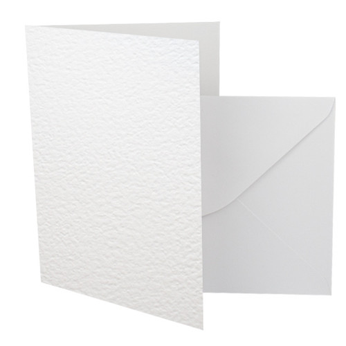 A5 Card Blanks with Envelopes, White Hammer