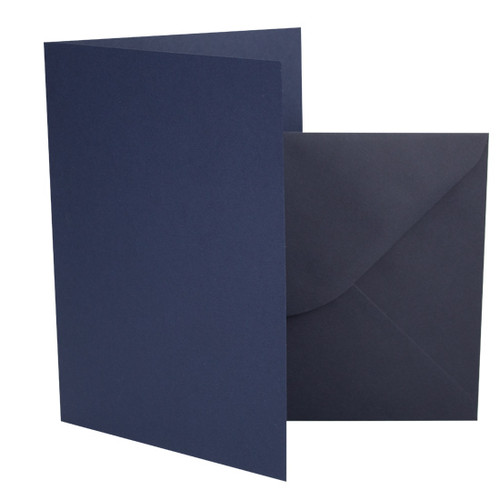 A5 Card Blanks with Envelopes, Navy Blue Matte