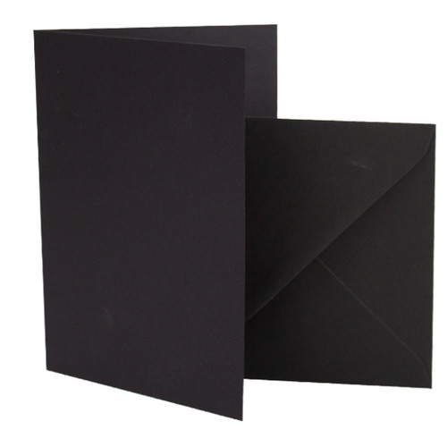 A6 Card Blanks with Envelopes, Black Matte