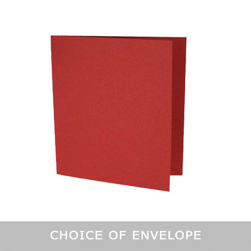 Large square cherry red matte card blanks with envelopes