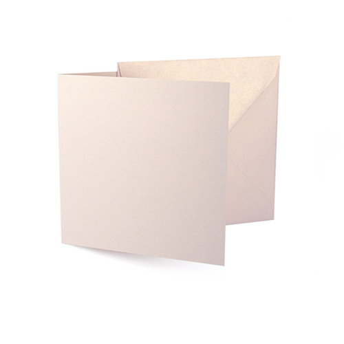 Large square rose gold dust pearl card blanks with envelopes