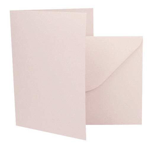 A5 Card Blanks with Envelopes, Blush Pink Matte