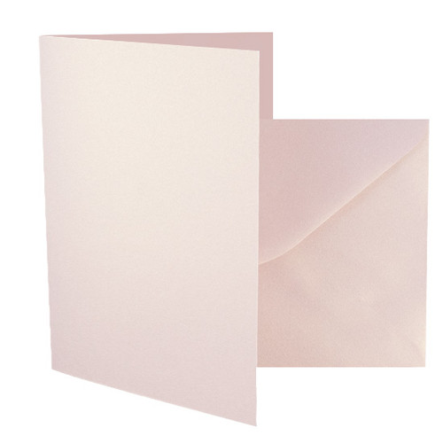 A5 Card Blanks with Envelopes, Rose Gold Dust Pearl 230gsm