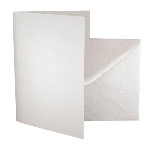 A5 Ivory white pearl card blanks with envelopes