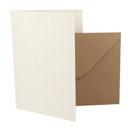 A5 Card Blanks, Recycled Ivory Fleck & Kraft Envelopes