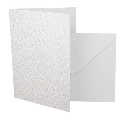 A6 Card Blanks with Envelopes, White Fizz