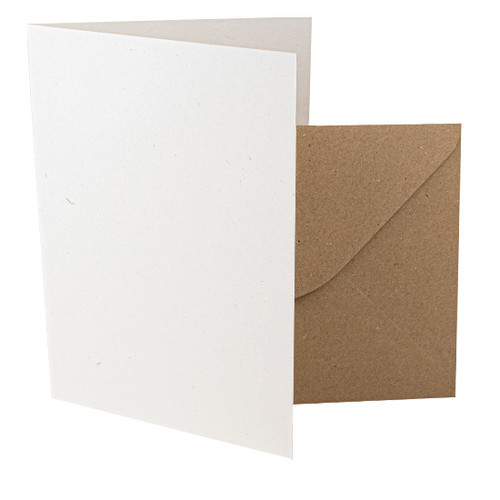 A5 Card Blanks, Recycled Eco Fleck, Aged White & Kraft Envelopes
