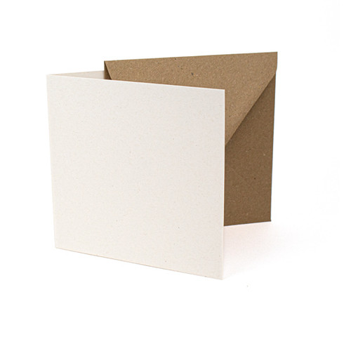 Large square recycled eco fleck card blanks with envelopes