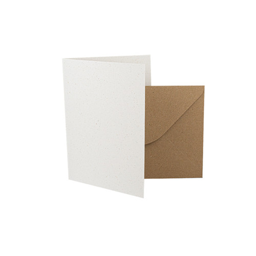 A7 Recycled white grain card blanks with kraft envelopes