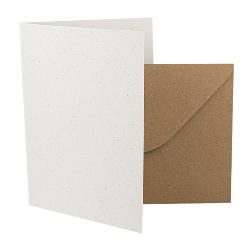 5 x 7 Recycled White Grain Card Blanks with envelopes