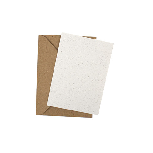 A7 Recycled white grain mini flat sheet cards with envelopes