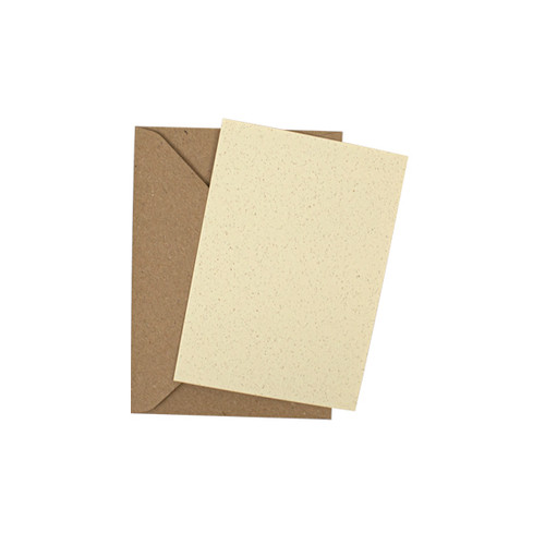 A7 Recycled ivory grain mini flat sheet cards with envelopes