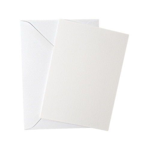 A6 Flat Sheet White Linen Invitations with Envelopes