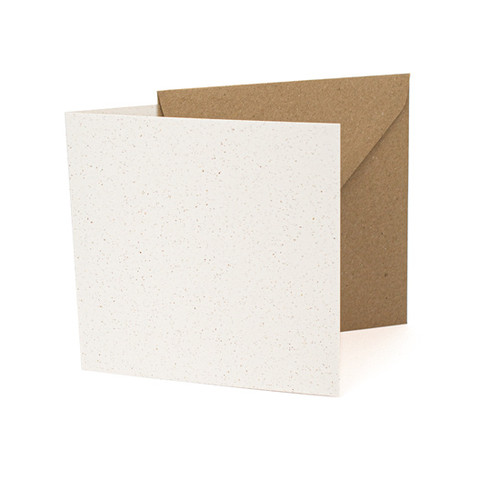 Small square white grain card blanks with envelopes