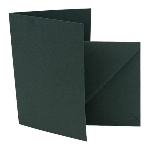 A6 Pine green card blank with envelope