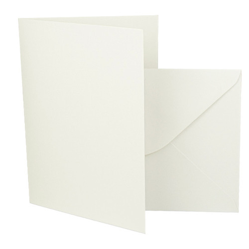 5 x 7 Recycled aged white card blank with matching envelope