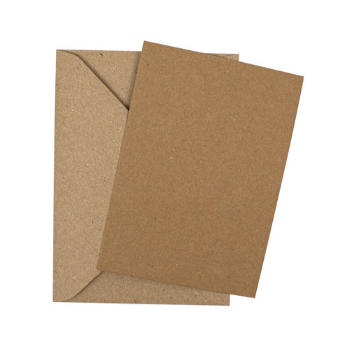 A5 Recycled brown kraft flat sheet invitations with envelopes