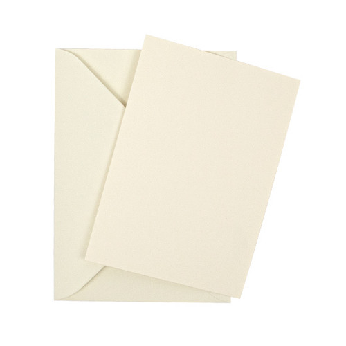 A6 Ivory silk flat sheet invitations with envelopes