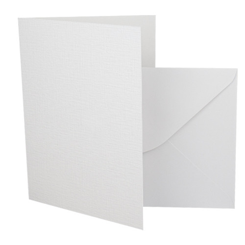 A6 Card Blanks with Envelopes, White Linen 260gsm