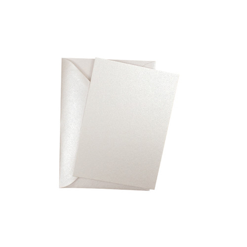 A7 Ivory white pearl mini flat sheet cards with envelopes
