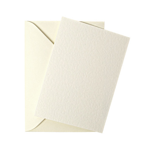 A5 Ivory hammer flat sheet invitations with envelopes