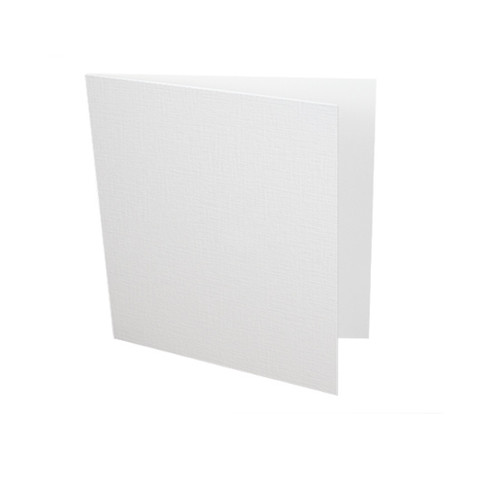 Small square white linen card blank