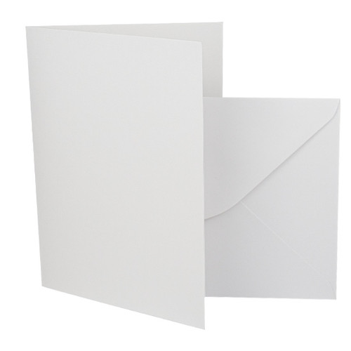 A6 Card Blanks with Envelopes, White Silk 350gsm
